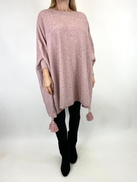 Lagenlook Carla Tassel Sparkle Jumper in Winter Pink. code 2755 - Lagenlook Clothing UK