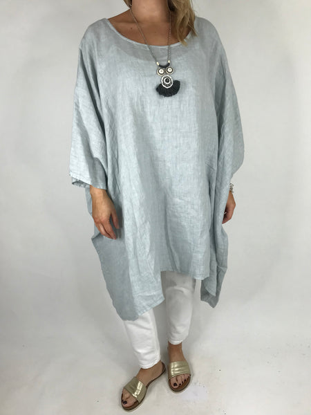 Lagenlook Vera Linen Poncho Top in Pale Grey .code 8956