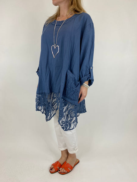 Lagenlook Alice Lace Hem Top in Denim. Code 922011