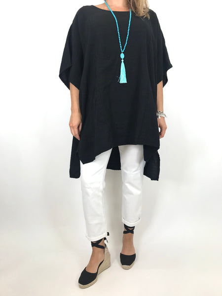 Lagenlook Chloe Pocket Front Top in Black. code 6372