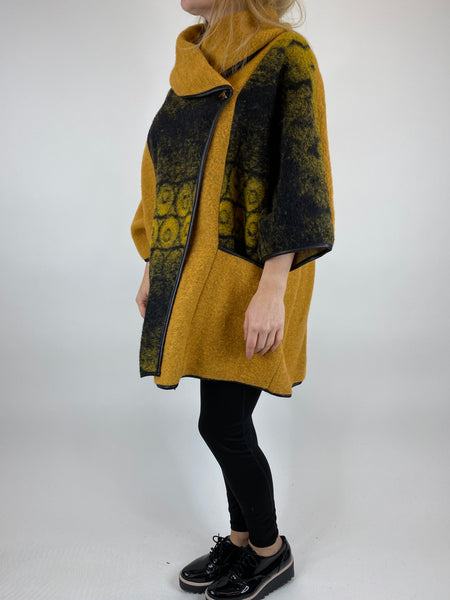 Lagenlook Boho Shadow flower jacket in Mustard. code 10240