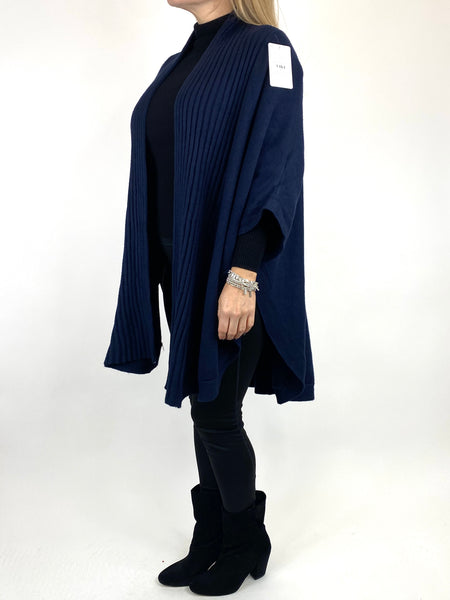 Lagenlook Perry Cable Edge Knitted Cardigan in Navy. code 2728 - Lagenlook Clothing UK