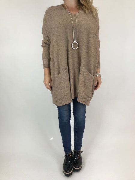 Lagenlook Grove V- Neck Knit jumper in Mocha. code 6077