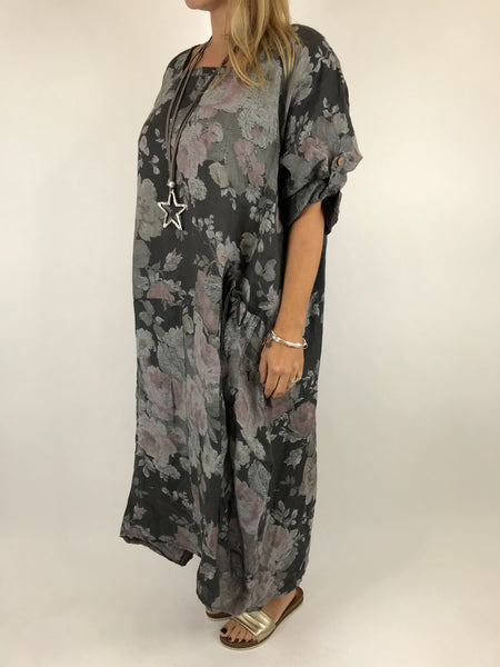 Lagenlook Floral Sleeved Linen Tunic in Charcoal Grey. code 5314