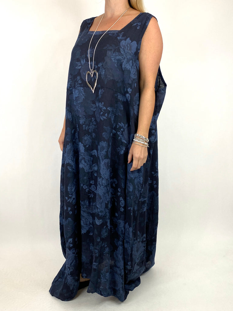 Lagenlook Emily-2 Plus Size Linen Flower Print Dress in Navy.code 8262 - Lagenlook Clothing UK