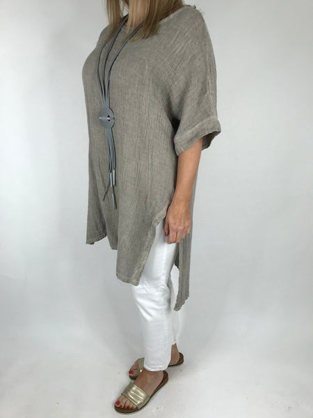 Lagenlook Alto Linen Top in Mocha. code 5773