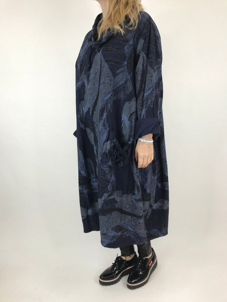 Lagenlook Lilly Animal and Feather Tunic in Navy. code 6060