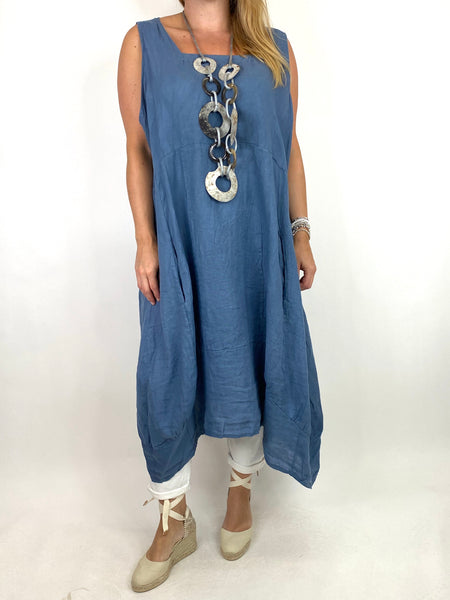 Lagenlook Bella Linen Square neck tunic in Denim. code 8262