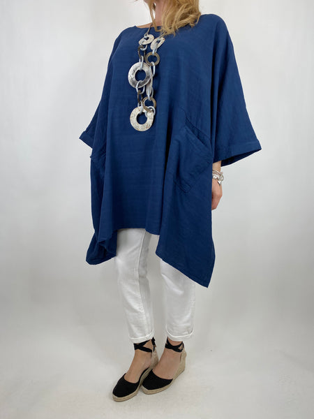 Lagenlook Maya Summer Top in Navy. code 8365