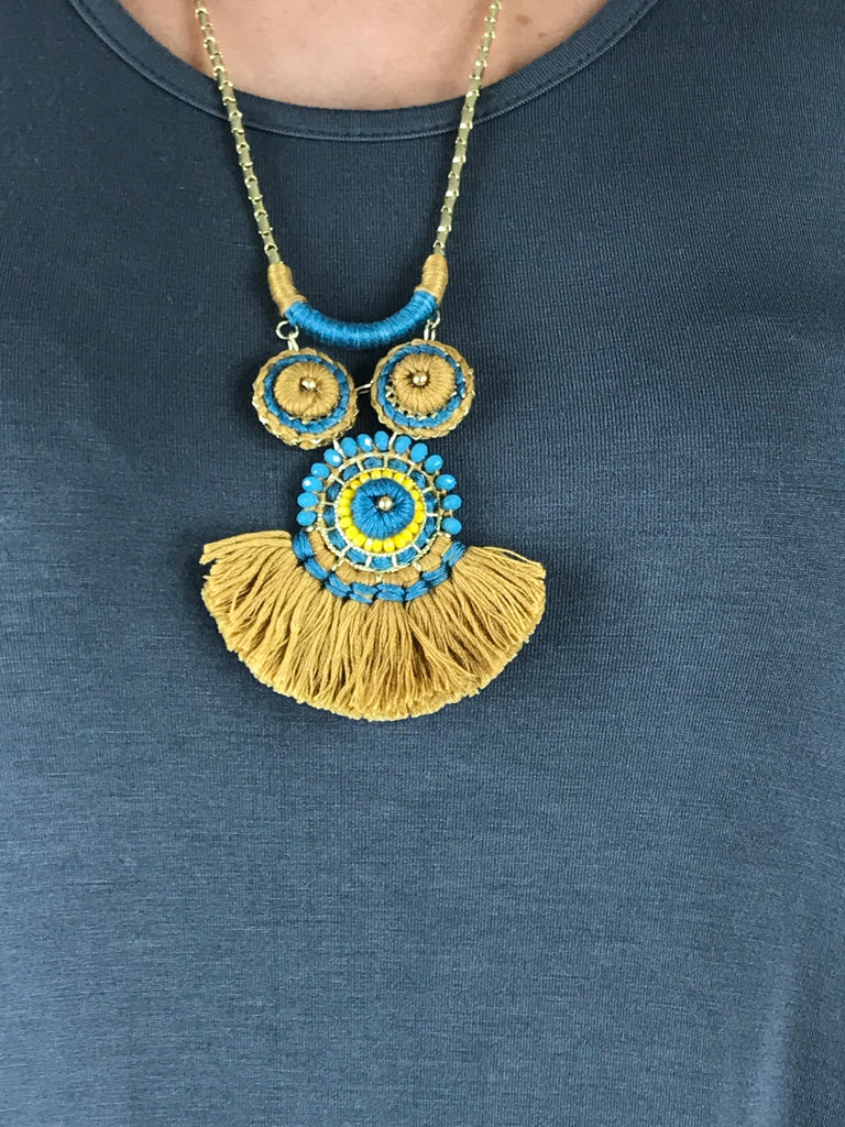 Lagenlook Fan Tassel Necklace in Teal & Mustard. Code LB1826