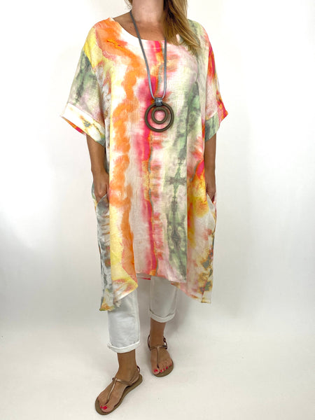 Lagenlook  Bernie Tie-Dye Linen Tunic in Orange/fuchsia Mix . code 9611 - Lagenlook Clothing UK
