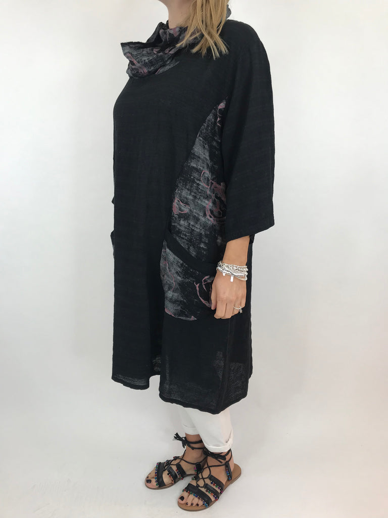 Lagenlook Julia Cotton Scarf Top in Black. code 90850