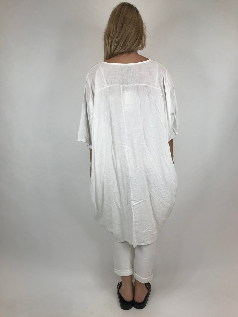 Lagenlook Cocoon Top in White. code 5808