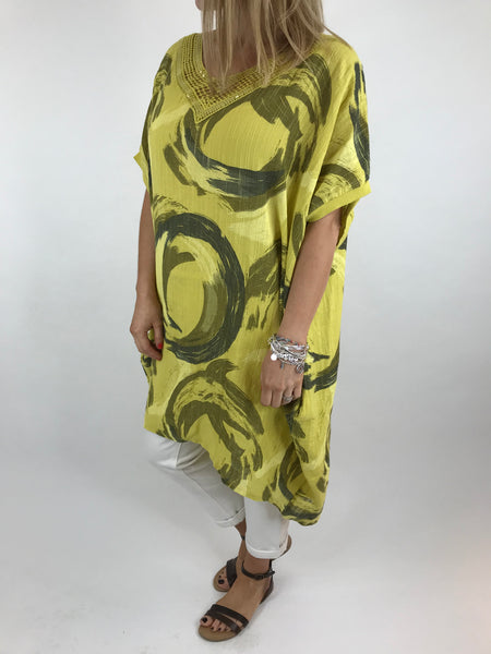 Lagenlook Chloe Swirl Print Summer Tunic in Yellow. code 5709