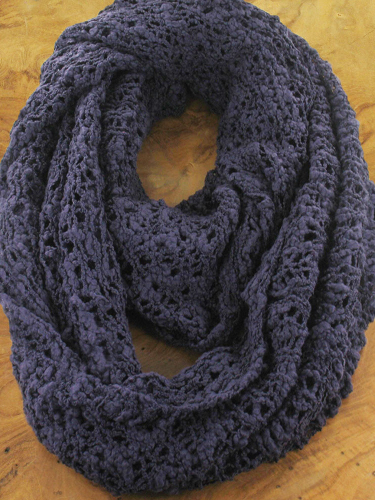 Lagenlook POPCORN KNIT INFINITY SNOOD SCARF  in Purple. Code AF6803pu