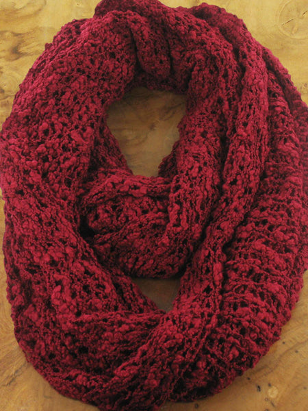 Lagenlook POPCORN KNIT INFINITY SNOOD SCARF  in Wine. Code AF6803cl