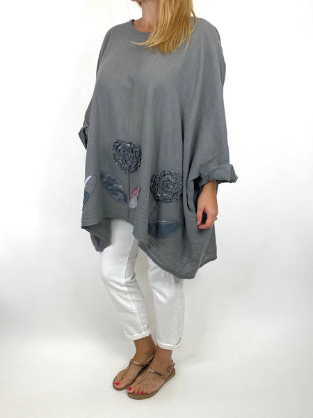 Lagenlook Dalia Flower hem in Charcoal. Code 90969