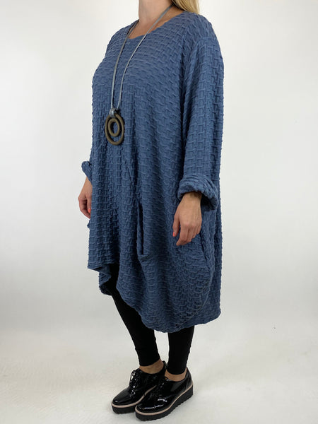 Lagenlook lottie Textured Large Waffle Parachute Hem Tunic In Denim. code 91122 - Lagenlook Clothing UK