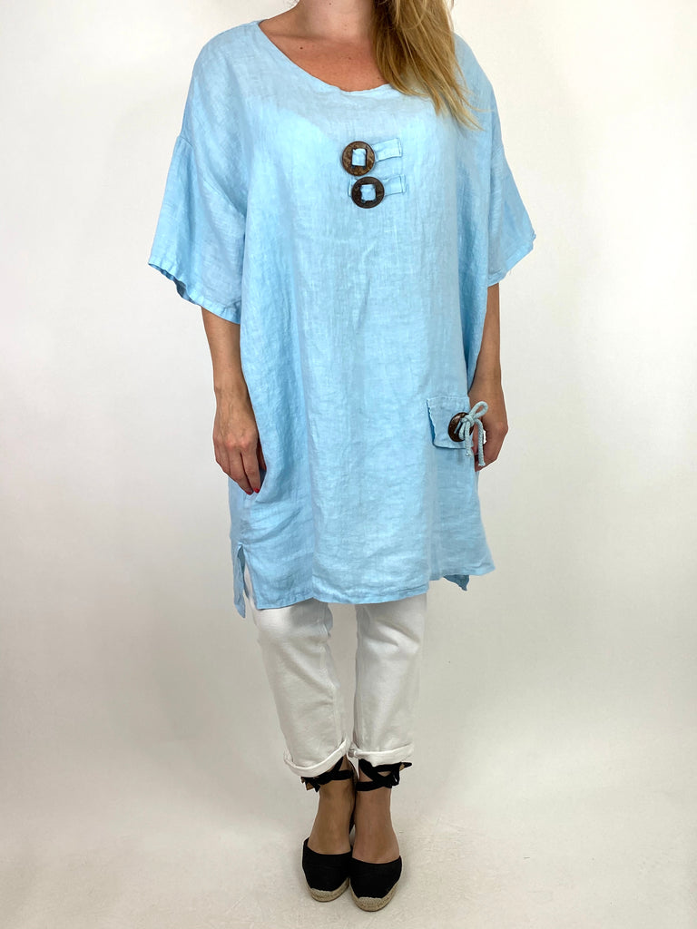 Lagenlook Bea Linen Top In Sky.code 9782