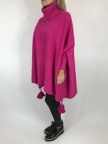 Lagenlook Melody Oversized Jumper in Fuchsia Pink. code 5511