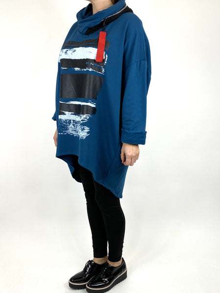 Lagenlook Stripe Paint Hood Top in Teal. code 91152 - Lagenlook Clothing UK