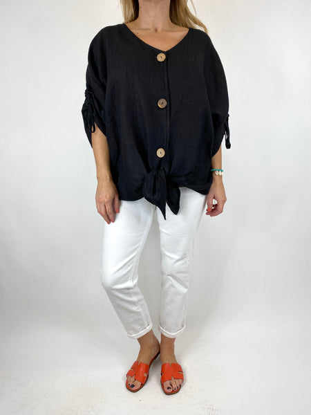 Lagenlook Wexford Button Linen Tie top Jacket in Black. code 1279