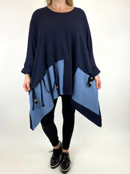 Lagenlook Sammy Jersey Bead Top in Navy with Denim. code 910881 - Lagenlook Clothing UK