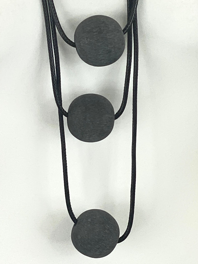Lagenlook 3 Charcoal  Ball Necklace code A0994C - Lagenlook Clothing UK