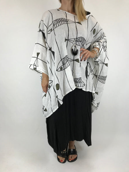 Lagenlook Linen Quirky Print Poncho Top in white. Code 18057