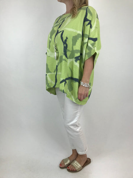 Lagenlook Lizzy Cotton Summer Top in Lime. code 19460