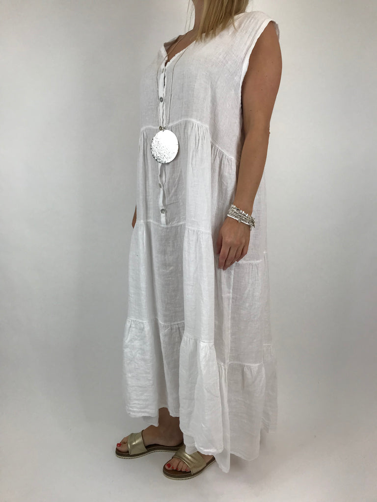 Lagenlook Kate Sleeveless Button Front Linen Tunic in White. code 20529