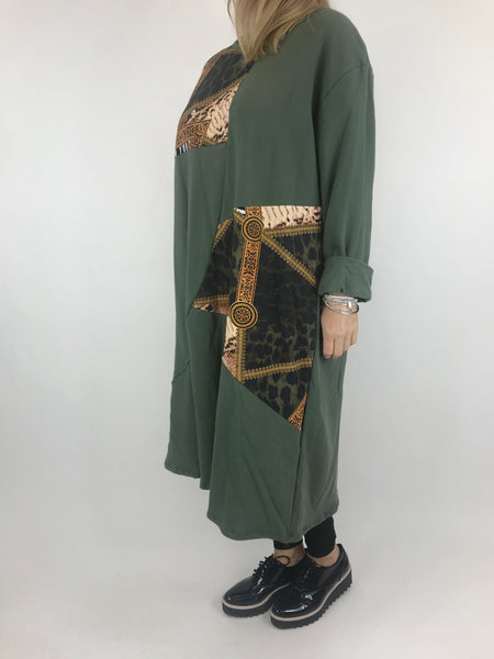 Lagenlook Donny Chain Print Patch Tunic in Khaki. code AB610