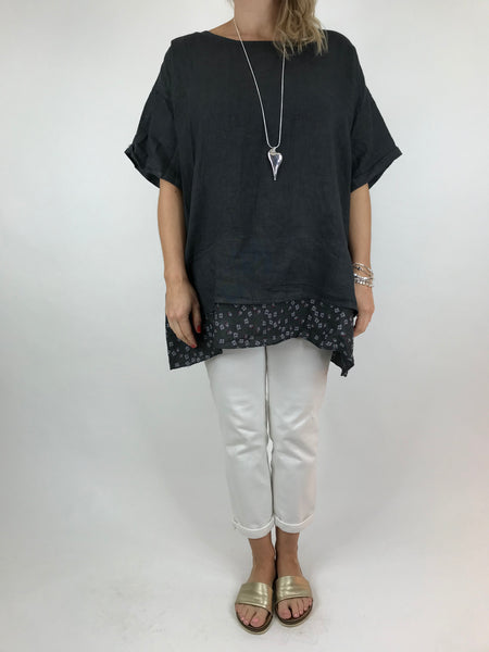 Lagenlook Ditsy Flower Hem Summer Top in Charcoal Grey . code A1362