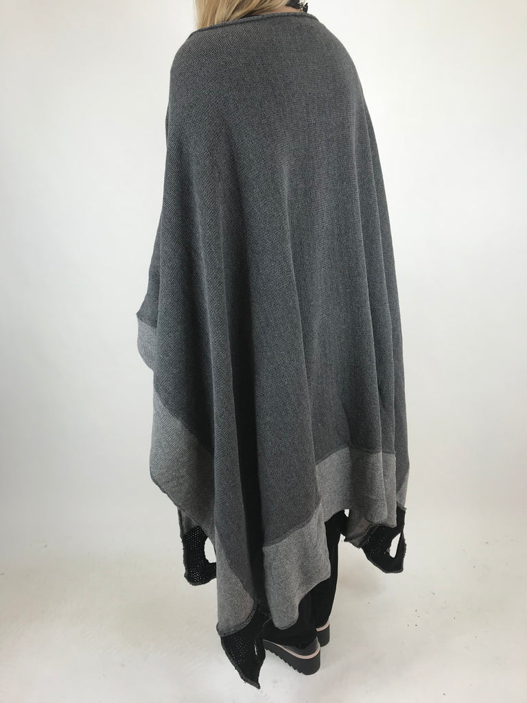 Lagenlook Jessica Oversized Poncho in Charcoal . code 1836