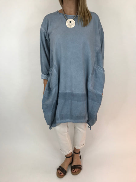 Lagenlook Nellie Quirky Acid Wash Sweatshirt  in Denim Wash. code 5644