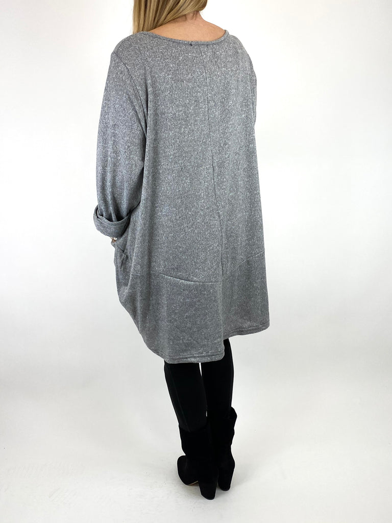 Lagenlook Made In Italy Alps Brushed Tunic in Pale Grey. Code 7476 - Lagenlook Clothing UK