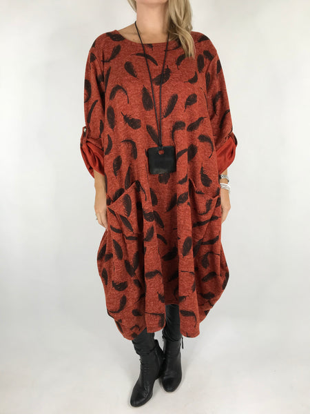 Lagenlook Feather Print Tunic In Rust. code 8849