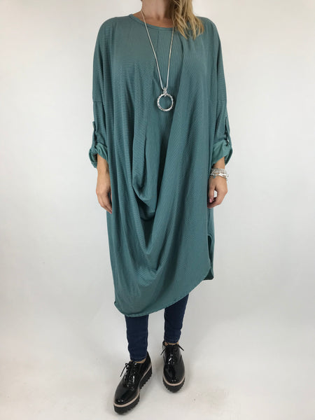 Lagenlook Cotton Fold Front Tunic in Seaweed. code 5943