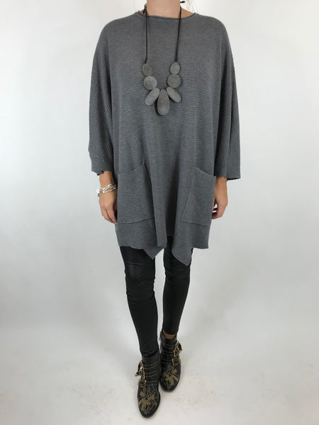 lagenlook Lola Oversized Jumper In Grey. code 5361