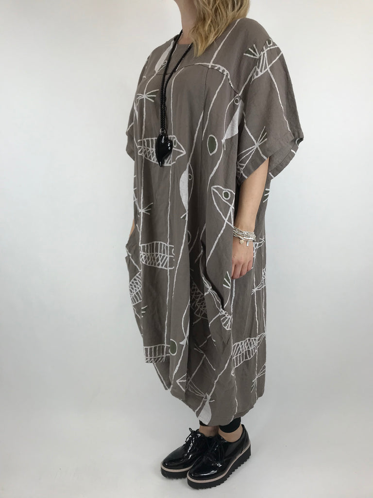 Lagenlook Linen Blend Quirky Patterned Tunic in Mocha. code 39113