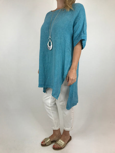 Lagenlook Alto Linen Top in Aqua Blue. code 5773