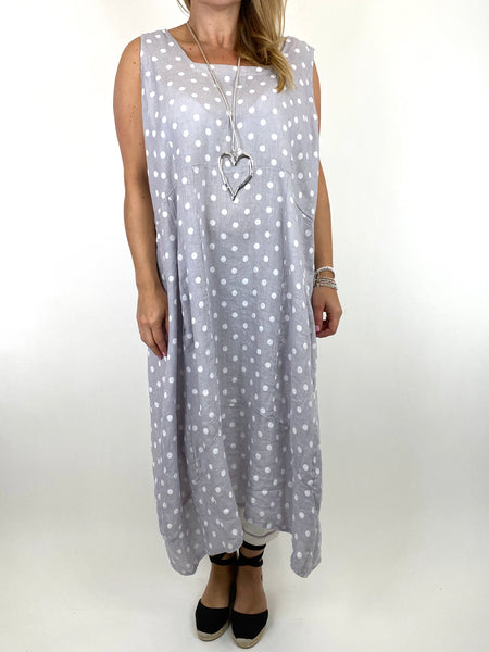 Lagenlook Taylor Linen Polka Dot Square neck tunic in Pale Grey. code 8262PD