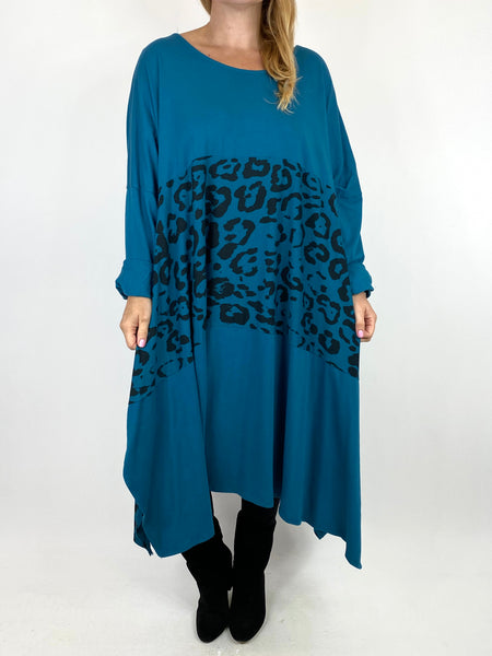 Lagenlook Chrissy Cheetah Panel Tunic in Teal. code 10356 - Lagenlook Clothing UK