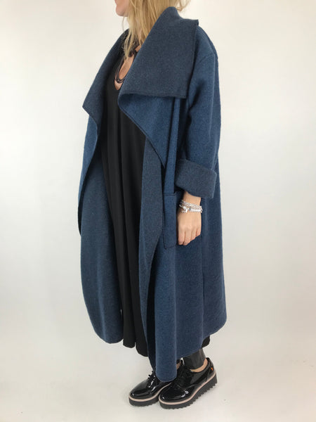 Lagenlook Waterfall Wool Blend Coat in Petrol Blue. code 6080