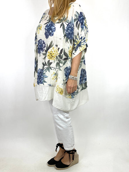 Lagenlook Aster Tropical Flower Top in Cream. code 89420