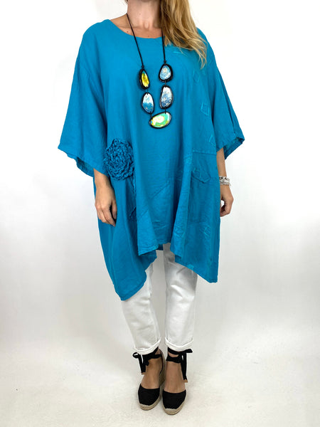 Lagenlook Rosa Flower Top In Teal. code 4973
