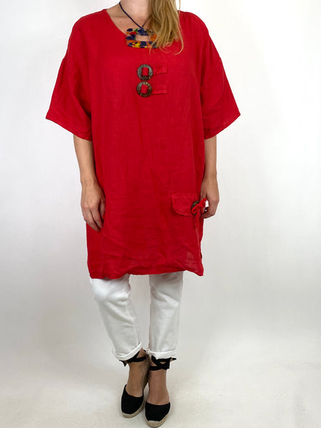 Lagenlook Bea Linen Top In Red. code 9782