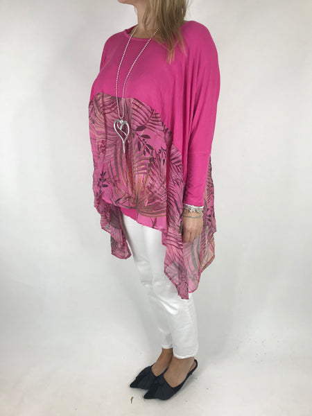 Lagenlook Layering 2 Piece Silk Hem Top in Fuchsia Pink. code 1511