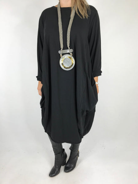 Lagenlook Pocket side Tunic in Black. code 4728
