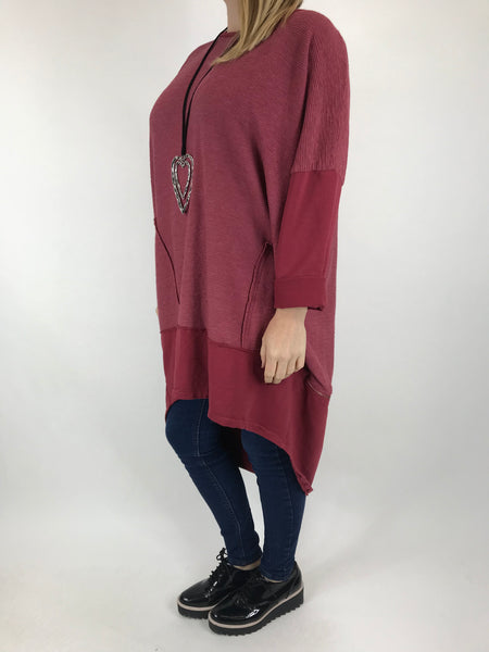 Lagenlook Zip Back Ribbed Top in Wine. code 6028